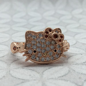 fragrant jewels hello kitty face ring pave crystal